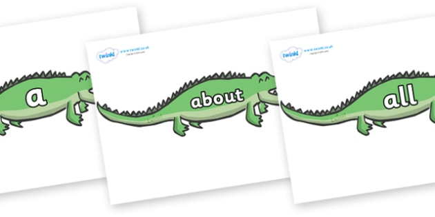 100 High Frequency Words on Crocodiles - High frequency words, hfw, DfES Letters and Sounds, Letters and Sounds, display words