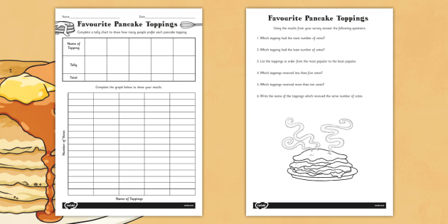Favourite Toppings Tally Chart and Graph With Questions - tally