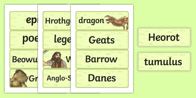 Beowulf Vocabulary Cards - beowulf, vocabulary, cards, words, ks2