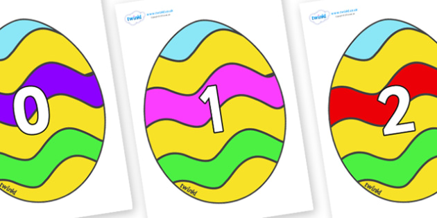 Numbers 0-50 on Easter Eggs (Striped) - 0-50, foundation stage numeracy, Number recognition, Number flashcards, counting, number frieze, Display numbers, number posters