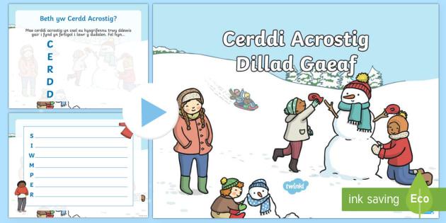 Pŵerbwynt Cerddi Acrostig Dillad Y Gaeaf - Y Gaeaf (Winter), Gaeaf, Arddangosfeydd, Tymhorau, Cyfnod Sylfaen. cerdd, cerddi acrostig, barddonia