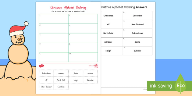New Zealand Christmas ABC Order Worksheet / Worksheet