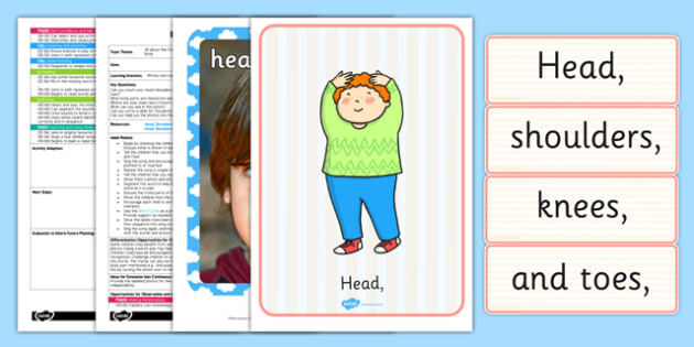 Head, Shoulders, Knees and Toes Labelling Activity EYFS Adult Input Plan and Resource Pack