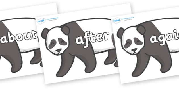 KS1 Keywords on Pandas - KS1, CLL, Communication language and literacy, Display, Key words, high frequency words, foundation stage literacy, DfES Letters and Sounds, Letters and Sounds, spelling