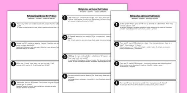 Differentiated Multiplication and Division Word Problems Polish Translation - polish, multiplication, division, word problems