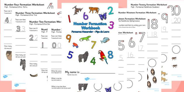 Number Formation Workbook Jungle Romanian Translation - romanian, overwriting