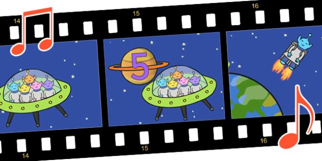 Five Little Men in a Flying Saucer Sing Along Video - fun, video