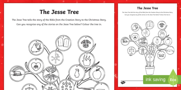 The Jesse Tree Colouring Page Irish Teacher Made