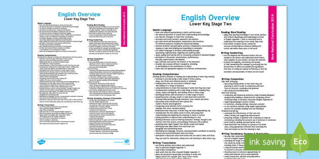 2014 National Curriculum LKS2 English Overview - new curriculum, literacy