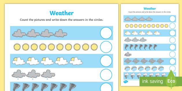 Weather Themed Counting Worksheet - count, counting aid, maths