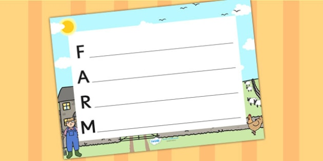 Farm Themed Acrostic Poem - farm, animals, poem, poetry, template