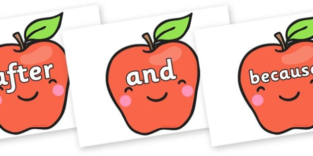 Connectives on Cute Smiley Apple - Connectives, VCOP, connective resources, connectives display words, connective displays