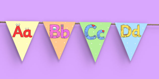 Monster Alphabet Display Bunting - monster alphabet, monster, alphabet, display bunting, display, bunting