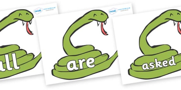 Tricky Words on Snakes - Tricky words, DfES Letters and Sounds, Letters and sounds, display, words