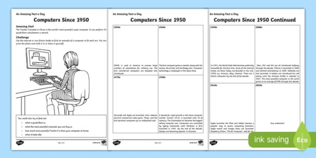 Computers Since 1950 Activity Sheet, worksheet