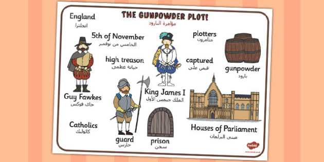 The Gunpowder Plot Word Mat Arabic Translation - arabic, gunpowder