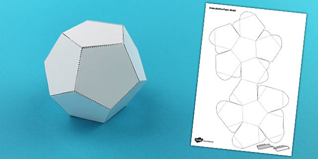Dodecahedron 3D Shape Net - dodecahedron, net, activity, craft, shape