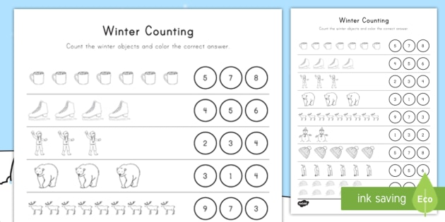 winter counting worksheet activity sheet seasons number. Black Bedroom Furniture Sets. Home Design Ideas