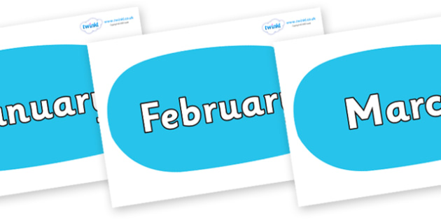 Months of the Year on Speech Bubbles (Plain) - Months of the Year, Months poster, Months display, display, poster, frieze, Months, month, January, February, March, April, May, June, July, August, September