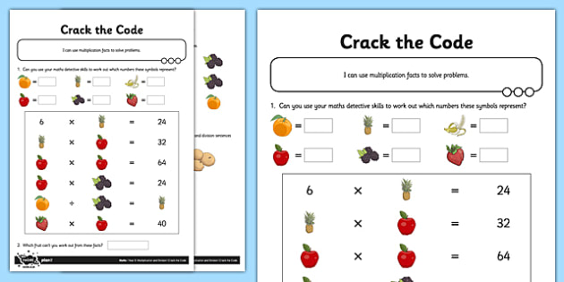 T2 M 1717 Differentiated Crack The Code Missing Number Puzzle Activity Sheets on Worksheet For Primary 1