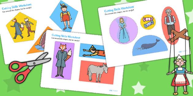 Pinocchio Themed Cutting Skills Worksheet - motor skills, cut