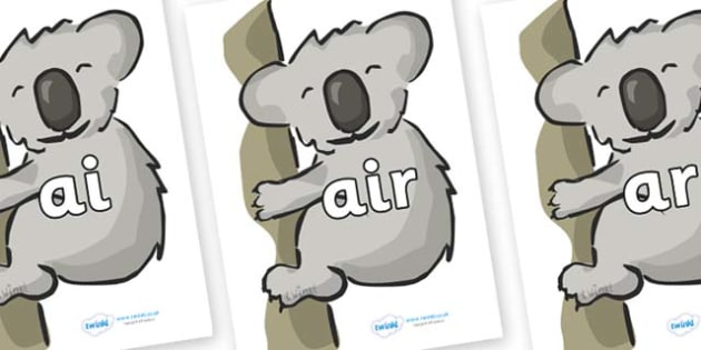 Phase 3 Phonemes on Koalas - Phonemes, phoneme, Phase 3, Phase three, Foundation, Literacy, Letters and Sounds, DfES, display