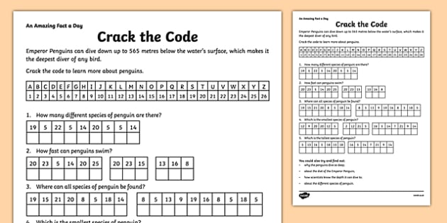 crack  code penguin worksheet teaching resource twinkl
