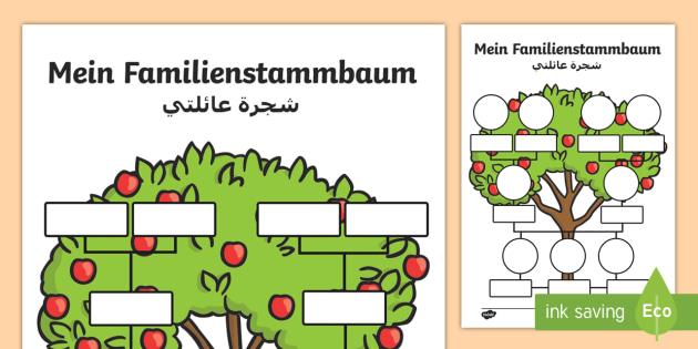 deutsch arabische mein familienstammbaum arbeitsbl tter. Black Bedroom Furniture Sets. Home Design Ideas