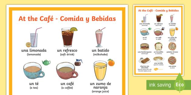 At The Cafe Bebidas Y Comidas A4 Display Poster Spanish Food