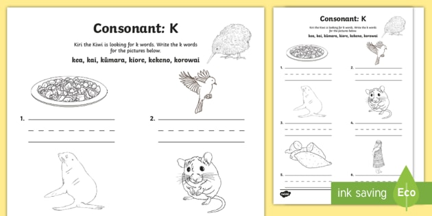 Māori Language Week Consonants 'K' Worksheet / Activity Sheet