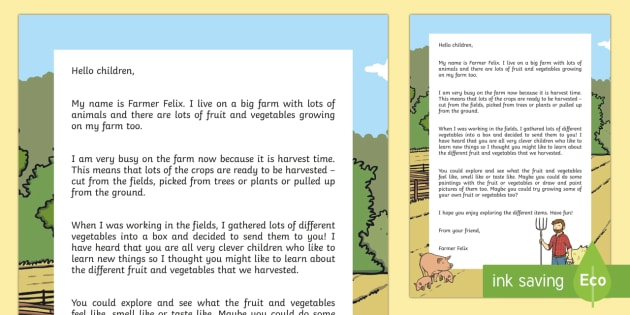 Editable Harvest Fruit and Vegetable Parcel Letter - EYFS, Early Years, Key Stage 1, KS1, topic starter, topic introduction, Wow activities, lesson obser