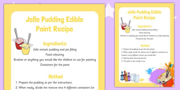 Jello Pudding Edible Paint Recipe -art, design, technology, food, early years, KS1