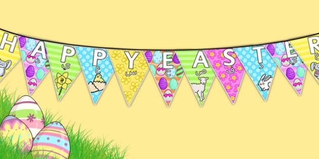 Happy Easter Display Bunting Arabic Translation - arabic, bunting, decorations, display, display bunting, happy easter, easter, happy easter bunting, easter bunting, happy easter display, classroom decorations, for decorating your classroom