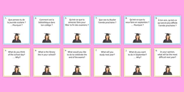 Education Post-16 Question Pair Cards French - Conversation, Speaking, Éducation, Studies, Études, College, Lycée, Baccalauréat, A levels, Exams, Examens, University, Université, Apprenticeship, Apprentissage,