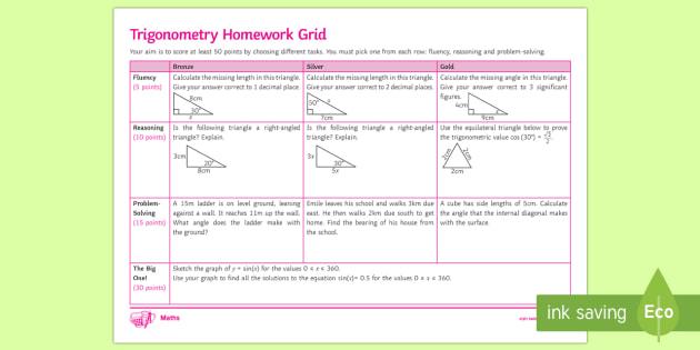new trigonometry mastery homework grid trignometry sin rh twinkl com