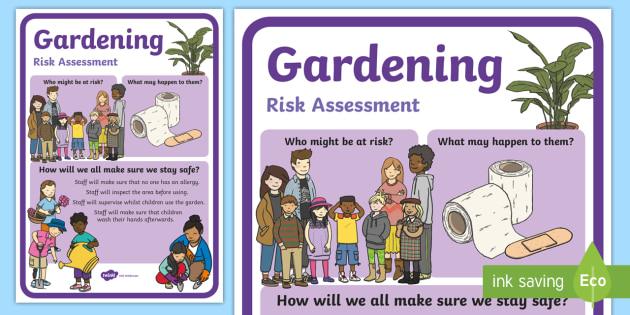 Outdoor learning gardening risk assessment display poster for Gardening risk assessment