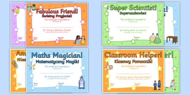 End of Year Award Certificates Polish Translation - polish, reward, awards, end of term