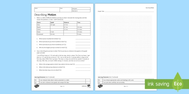 Describing Motion Homework Activity Sheet Homework distance – Motion and Speed Worksheet