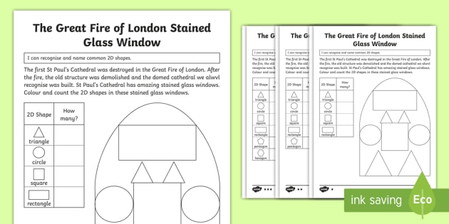 ks1 the great fire of london 2d shape differentiated worksheets maths. Black Bedroom Furniture Sets. Home Design Ideas