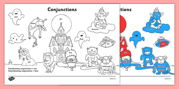 Conjunctions Colouring Sheet - conjunctions, connectives, colour