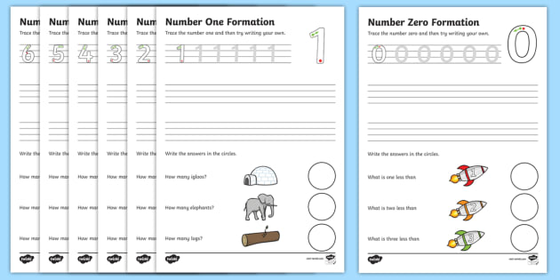 Number Formation Worksheets (0-9) - Handwriting, number formation, number writing practice, foundation, numbers, foundation stage numeracy, writing, learning to write, overwriting