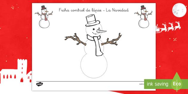 Ficha de trazo: El muñeco de nieve - grafometricidad, pre-escritura, control de lapiz, navidad, invierno, Spanish