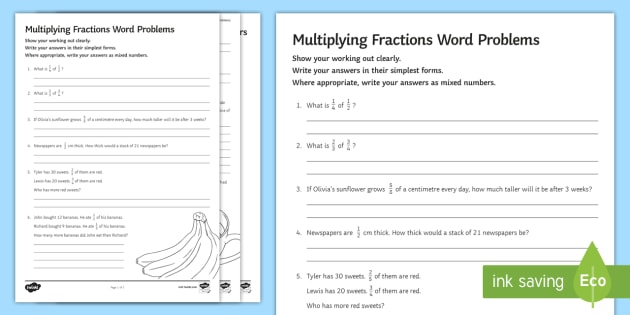 Multiplying Fractions Word Problems Worksheet Activity Sheet