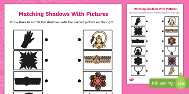 Diwali Shadow Matching Activity Sheet - hinduism, religion, match, worksheet