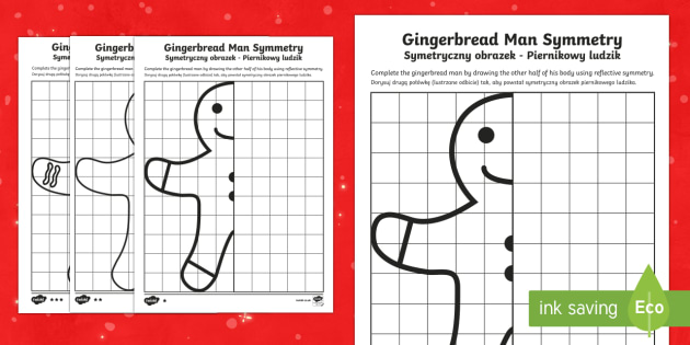 Gingerbread Man Symmetry Differentiated Activity Sheets English/Polish - Christmas N.I. shape, symmetry, gingerbread man, reflective, line of symmetry, symmetrical design, s