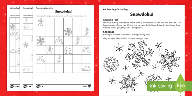 Amazing Fact a Day KS2 Countdown to Christmas Day 4 Snowdoku Activity Sheet - Amazing Fact Of The Day, activity sheets, powerpoint, starter, morning activity, December, Christmas