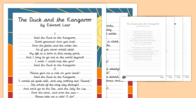 the duck and the kangaroo edward lear poem handwriting practice poem. Black Bedroom Furniture Sets. Home Design Ideas