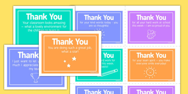 Thank You Notes Staff - reward, celebration, SLT, SMT, acknowledgement, respect, praise
