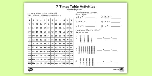 7 Times Table Worksheet Activity Sheet Englishpolish 7