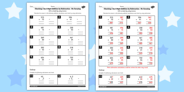 Year 3 Inverse Checking 3 Digit by 2 Digit Addition by Subtraction (No Carrying) Activity Sheet - no remainder, no remaining